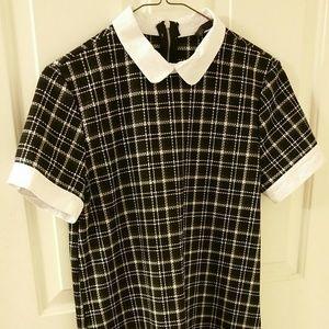 ZARA Black Plaid Collared Dress